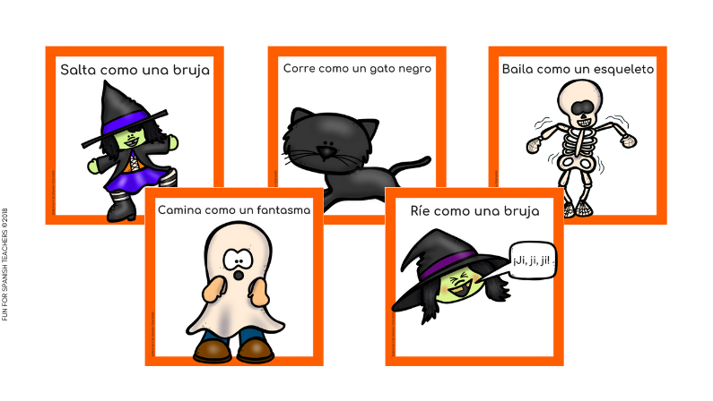 HALLOWEEN MOVEMENT CARDS IN SPANISH